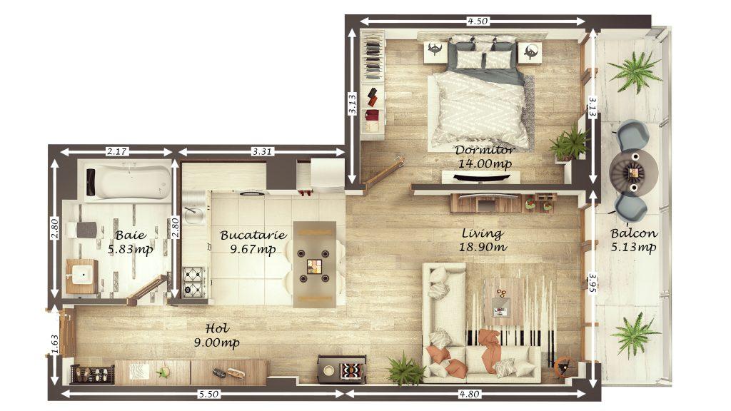 Apartament 2 camere 67 mp utili/ Et. intermediar/ Shopping City