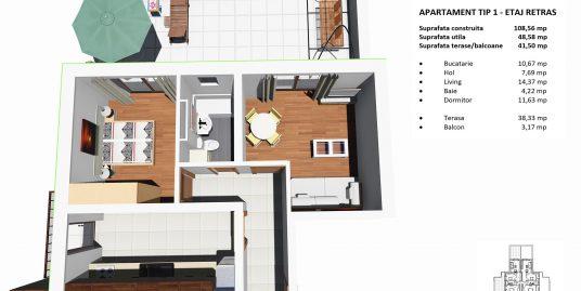 Apartament NOU 2 camere+ 40 mp terasa Terezian