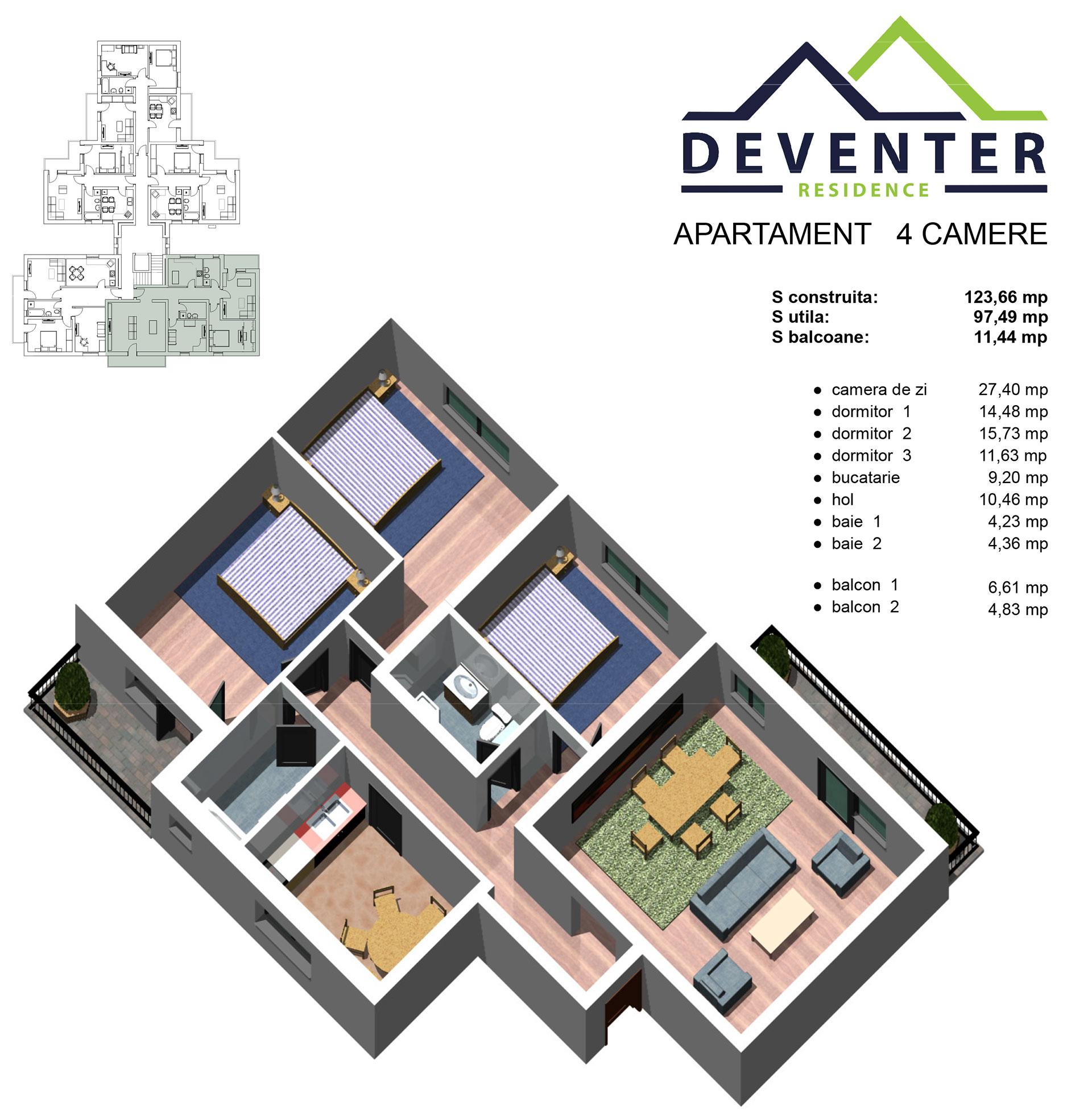 Ap.INTABULAT 4 camere decomandate Terezian Et.3 ( lift)