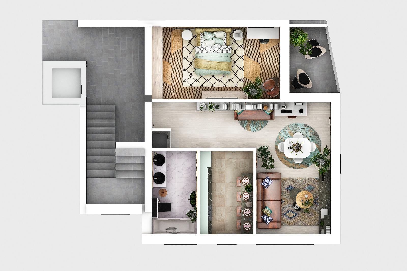 Turnisor Et.2- Ap. NOU 2 camere decomandate 65 mp+ balcon